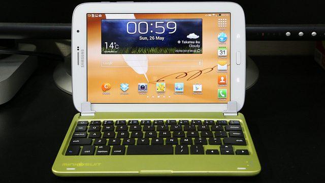iPadminiをノートパソコン風にする「MiniSuit NewYork Bluetoothキーボード」がなんとGalaxyNote8.0にもピッタリ使えたぞ!