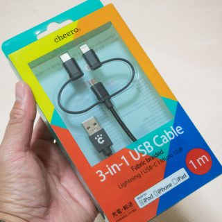 【新発売】cheeroからLightning・microUSB・USB Type-Cの3in1ケーブルが発売だぞ!