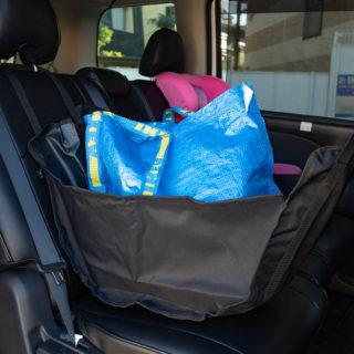 クルマの後部座席の荷物が倒れなくする「ハンモックバッグ」が便利だぞ!