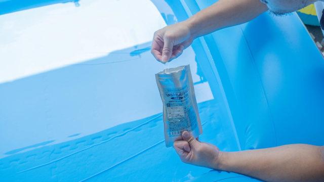 家庭用プールに!「次亜塩素酸水用粉末」が消毒にも使えて良いぞ!