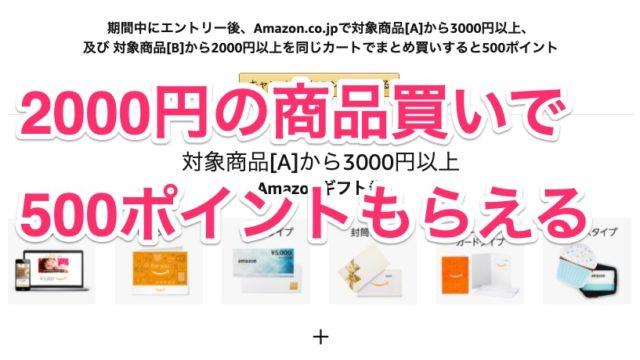 Amazonで、今だけ2000円以上買うと500ポイントもらえるキャンペーンやってるぞ!